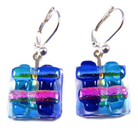 "DICHROIC Earrings Blue Teal Pink Striped Dichro Euro Lever Dangle 1/2"" 15mm"