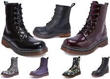 Mujer de las Señoras Botas al tobillo con Cordones Suela De Goma Muelle Ejército Botas Zapatos Vegano Punk Goth