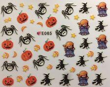 Nail Art 3D Decal Stickers Halloween Witch Pumpkin Spider Moon Star E065