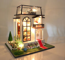 1/24 DIY Wooden Dollhouse Miniature DIY Kit / LED  Romantic Villa Musice box