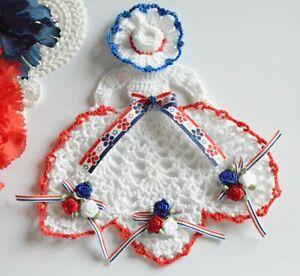 Patriotic Crinoline Lady Hand Crochet Doily / Red White Blue / Americana / USA