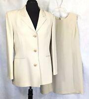 Petite Sophisticate Womens Beige Sheath Dress w/Jacket Acetate & Poly Sz 10-12