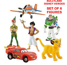 Bullyland Disney Heroes Set-Peter Pan/Lightning McQueen/Buzz Lightyear/Aladdin