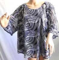 Southern Lady Women Plus Size 1x 2x 3x Black White Lined Chiffon Top Blouse