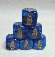 Dice - (6) *Boy Scout 3-Finger Salute* on 16mm Vortex Blue w/Gold Hand #1 & Pips