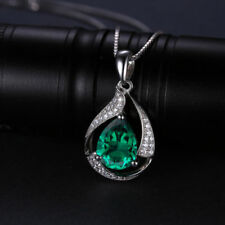 3.5ct Luxury Green Emerald Necklace Pendant Solid Sterling Silver Special Ladies