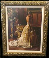 Beautifully Framed Rob Hefferan Lost in Thought Giclee on Canvas w/Hand Painting
