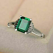 2Ct Emerald Cut Green Emerald Solitaire Engagement Ring 14K White Gold Finish