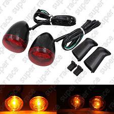 Rear Red Lens Turn Signals Lights Bracket For Harley XL883 XL1200 1992-UP Black