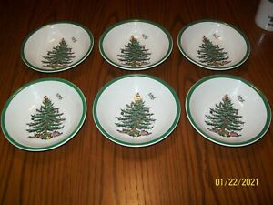 """6 Spode 6 1/4"""" Bowls in Christmas Tree Pattern"""