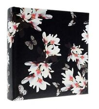 """Black Slip In Photo Album 200 6"""" x 4"""" Photos With Memo Memories Butterfly Gift"""