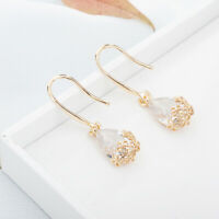Gold Ear Stud Drop Flower Earrings Jewelry Dangle Elegant Wedding Drop Designs