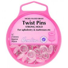 Hemline 30 x 13mm Nickel Twist Upholstery & Mattresses Pins