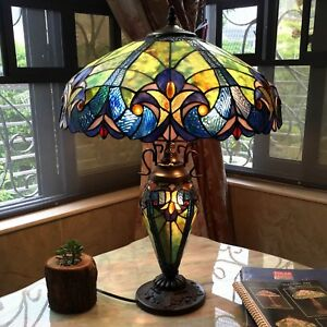 "Tiffany Style Table Lamp Victorian Blue Red Gold Green Stained Glass Shade 26"" H"