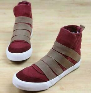 #F  Mens College Colors High Top Boots Sneakers Slip on Canvas Causal Shoes Flat