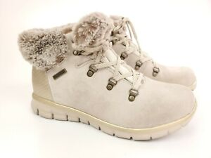Skechers Women's Size 8.5 Synergy Cold Catcher Bootie Boots Ivory Faux Fur