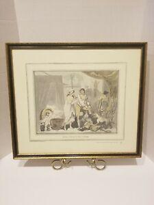 Vtg ENGLISH Artist THOMAS ROWLANDSON 1788 RISQUE COLORED ETCHING FRAMED Print