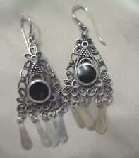 Hook Earrings W, Black Onyx Sterling Silver Vintage Long Wire