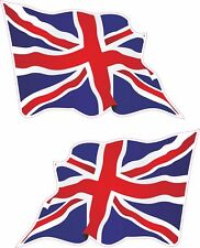 2x Grande Union Jack Wavy Flag Vinyle Voiture Van Ipad Laptop Casque Autocollant