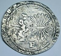 1400s-1500s Ferdinand and Isabella Spanish Silver 1 Reales Antique Columbus Coin
