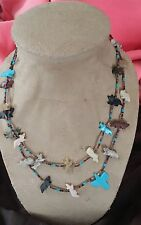 "Vintage Navajo 2 Strand Multi-Stone & Heishi Shell Handcrafted 32"" Necklace"