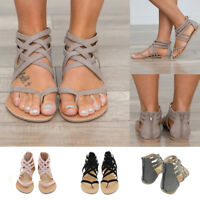 WOMENS LADIES STRAPPY GLADIATOR FLATS SUMMER FLIP FLOPS BEACH SANDALS SHOES SIZE