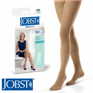 Womens Compression Thigh Stockings 8-15 mmhg Silicone Supports Jobst UltraSheer