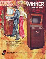 MIDWAY WINNER ORIGINAL VIDEO ARCADE GAME ADVERTISING SALES FLYER BROCHURE 1970s