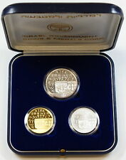 1990 Israel 3 Coin Proof/BU Set, Silver & Gold, 42nd Anniversary of Independence