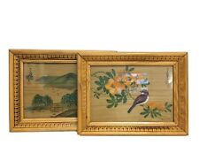 Asian Original Paintings On Bamboo Birds Nature Solid Wood Frame 9 x 12