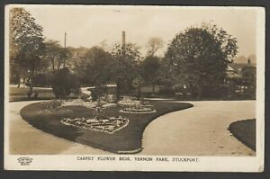 Postcard Stockport Cheshire carpet flower beds Vernon Park posted 1912 RP