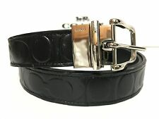 NWT Men's Coach F66125 Signature Embossed Leather Reversible Belt in Black $148