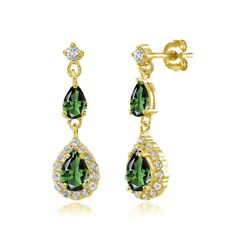 Teardrop Simulated Emerald & White Topaz Dangle Earring in Gold Plated Silver