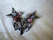 Vintage Painted Plastic Birds Pin Brooch With Pink Rhinestones As Found