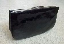 Vintage 50s 60s Black Patent Leather Evening Bag Handbag Clutch
