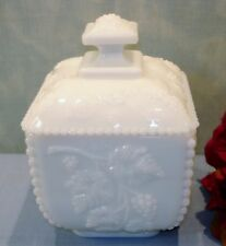 Westmoreland Beaded Grape White Milk Glass Puff Box or Candy with lid