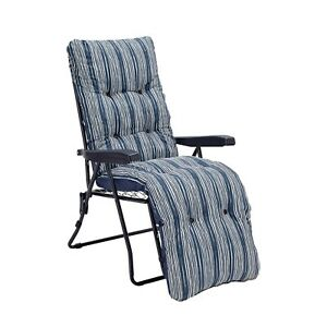 Padded Reclining Sun Lounger Next Day Delivery Cushioned Chair Navy Blue Garden