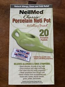 NeilMed Classic Porcelain Neti Pot Allergy Relief 20 Premixed Packets NEW
