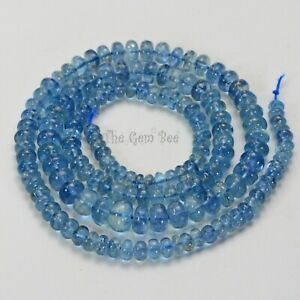 108.2CT Intense Blue Aquamarine Smooth Rondelle 19.3 inch strand