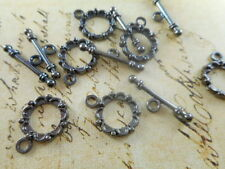 18 sets Gun Metal Plated Scalloped Toggle Clasp Findings 46400p