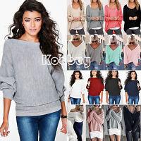 Women's Long Sleeve Sweater Knit Warm Pullover Casual Jumper Top Knitwear Blouse