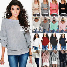 Women's Batwing Sleeve Knitted Sweater Long Jumper Tops Pullover Blouse NWT