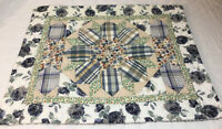 Patchwork Quilt Wall Hanging, Center Star, Triangles, Diamonds, Flower Prints