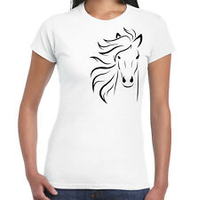 Horse design womens fitted white t shirt slim fit style animal logo printed top