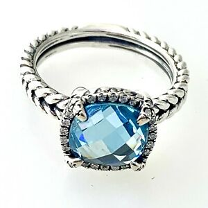 David Yurman Chatelaine Pave Bezel Ring with Blue Topaz and Diamonds, 9mm Sz 6.5