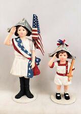 I Pledge Allegiance Boy & Girl Figurines 4th of July Bethany Lowe New Americana