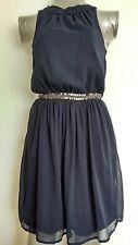 ZARA TRAFALUC chiffon dress size XS --MINT-- navy beadded waist lined