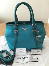 PRADA Turquoise Nylon/Leather Shopper Bag,w/Removable Strap $2250 NWT