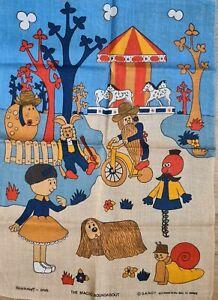 Vintage 'THE MAGIC ROUNDABOUT' BBC Television 1971 Advertising Linen TEA TOWEL