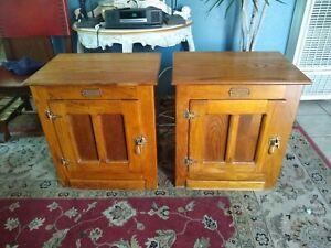 White Clad Ice Box End Table Oak Side Tables VTG